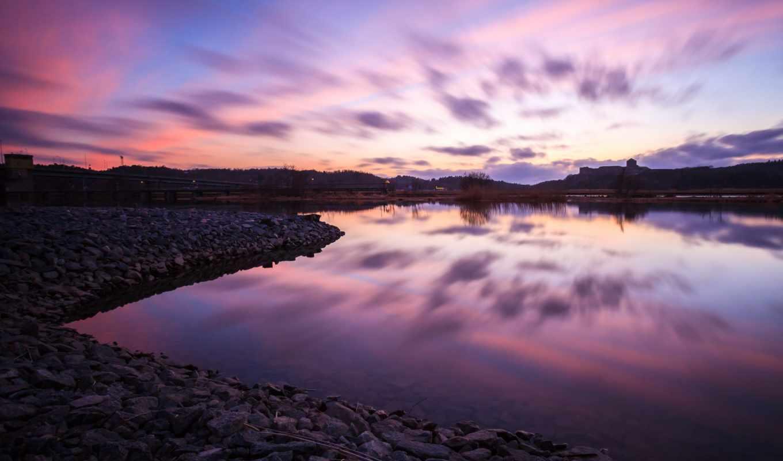 landscape, природа, море, water, камни, небо, отражение, widescreen,