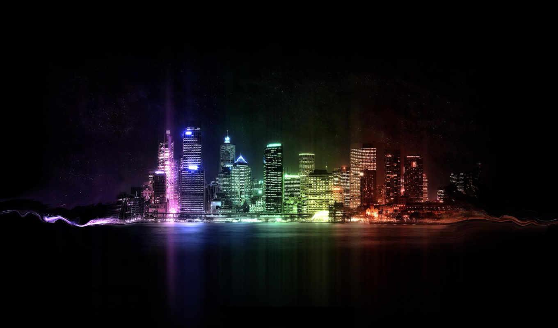 город, города, красивые, река, ночного, качественные, бесплатные,
