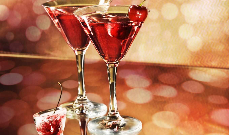 glass, cherry, шампанское, коктейль, праздник, мартини, lemon, украсить