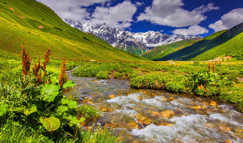 река, landscape, гора, природа, небо, трава