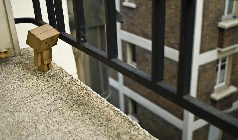 danbo, балкон, перила, дом, коробка, окна