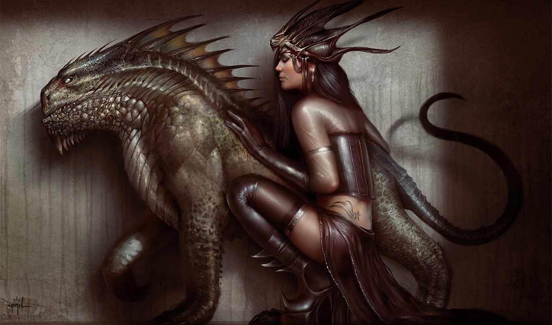 yigit, koroglu, фэнтези, digital, девушка, дракон,