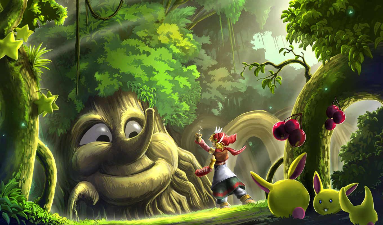 лес, волшебный, картинка, имеет, горизонтали, вертикали, картинку,