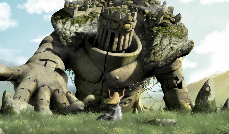 колосс, камни, город, девушка, трава, прт, холм, облака, голем, гигант,