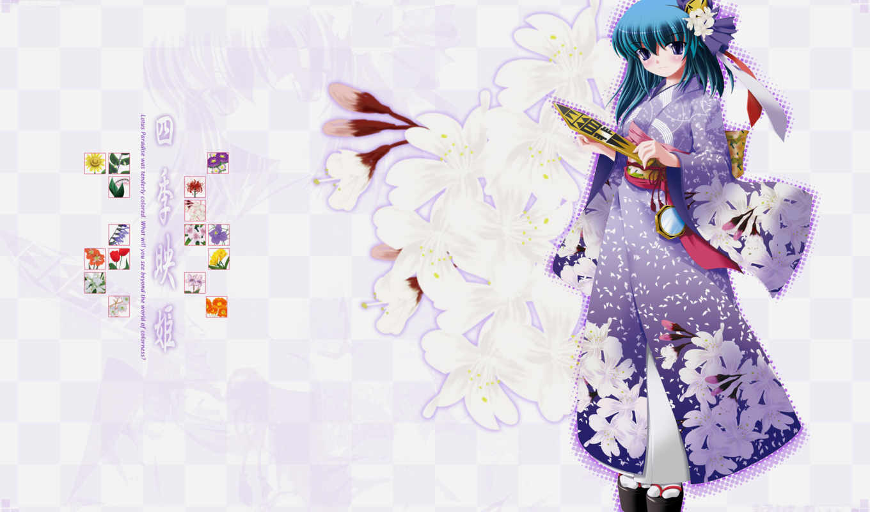 shikieiki, yamaxanadu, touhou, hair, side, kimono, eyes, flowers, purple, japanese, clothes, green, konachan,