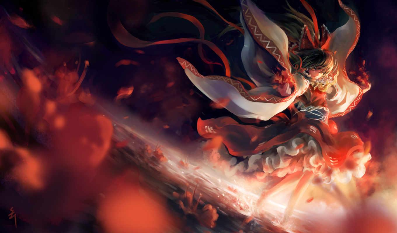 взгляд, image, red, anime, girl, reimu, hakurei, красное, google, огонь, share, similar, anonymous,