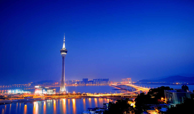 город, china, аомынь, макао, башня, мост, девушка,