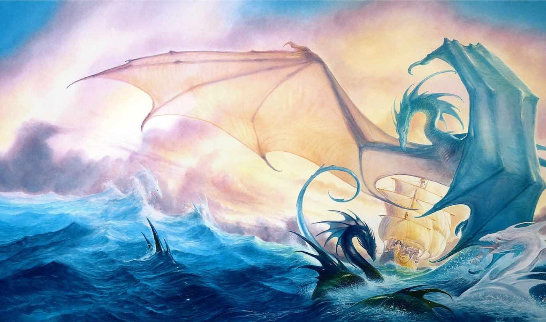 драконы, дракон, корабль,