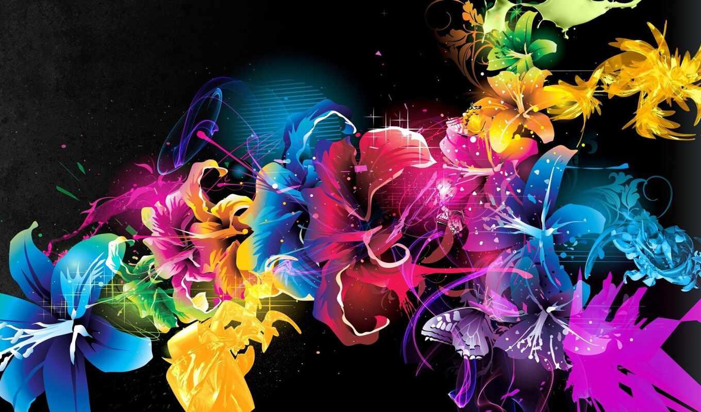 fond, multicolore, fleur, цветы, sur, une