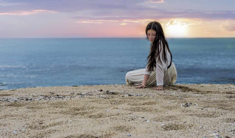 девушка, море, starve, закат