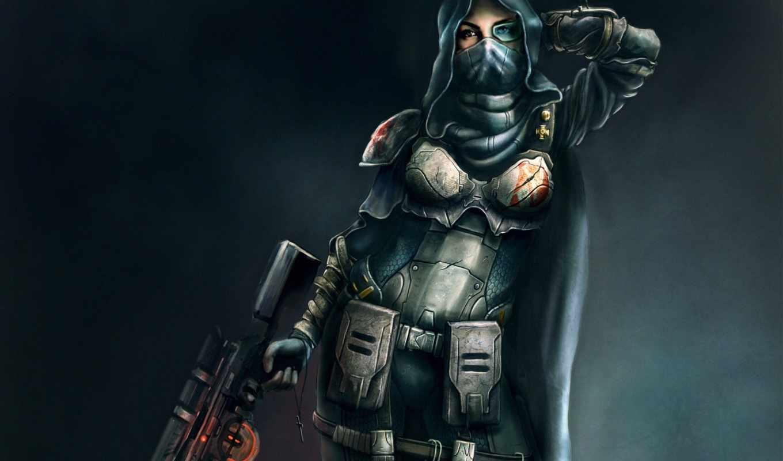 девушка, броня, винтовка, снайпер, арт, воительница, оружие, капюшон, wallpapers, صور, игра, women, крестик, اكشن,