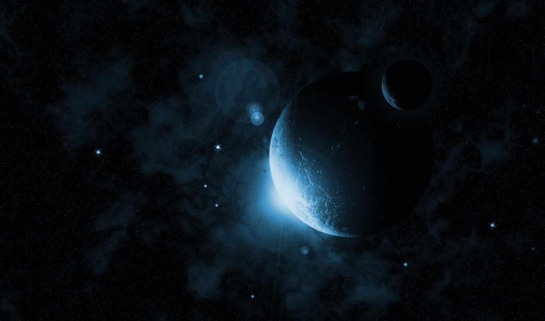 планеты, фантастика, солнце, свечение, стороны, одной, космос, íæáéè¼æ,