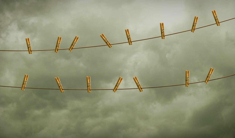небо, веревка, прищепки, картинка, имеет, bild, вертикали, горизонтали,