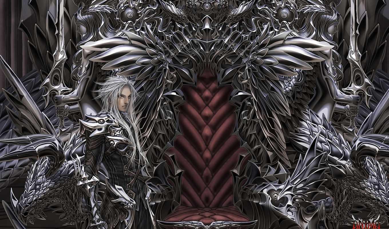 аниме, трон, арт, девушки, парни, воины, anima, beyond, любовь, fantasy, охраняют,