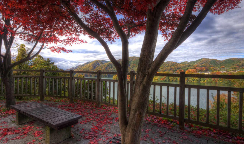 осень, природа, красавица, озера, деревня, горы, листва,