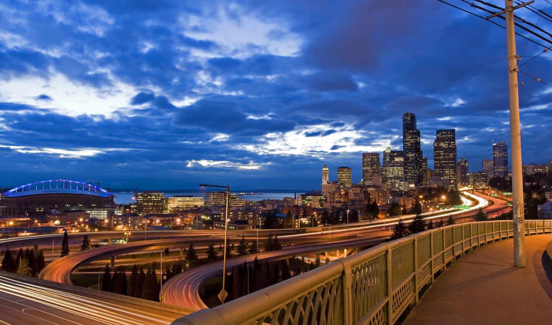 города, город, мост, landscape,