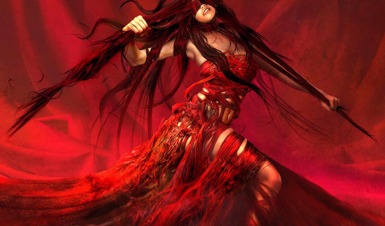 red, женщина, girls, красном, graphics, girl, free, рисунок,