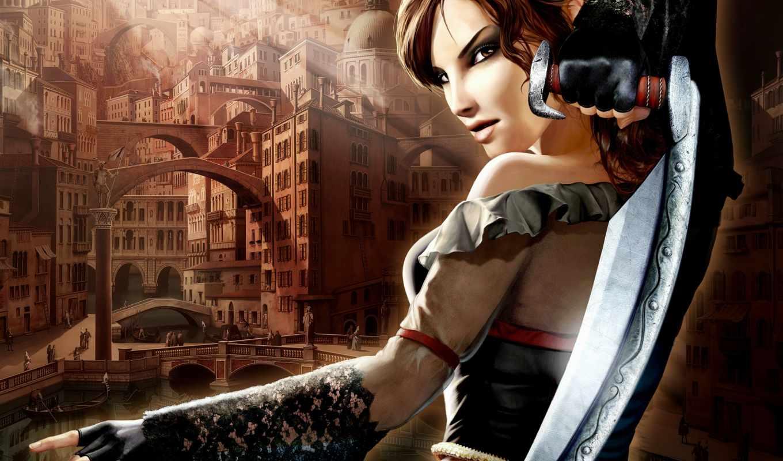 игра, venetica, игры, games, фантастика, девушка, меч, картинка, компьютерные, фотографии, видео,