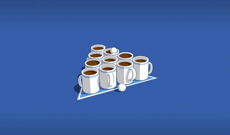 coffee, glennz, кружки, чай, бильярд, минимализм, шарики, чашки, pong, illustrations, incredible,
