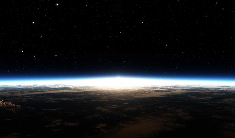 earth, space, stars, планета, planetscape, desktop, свечение, with, horizon, political,
