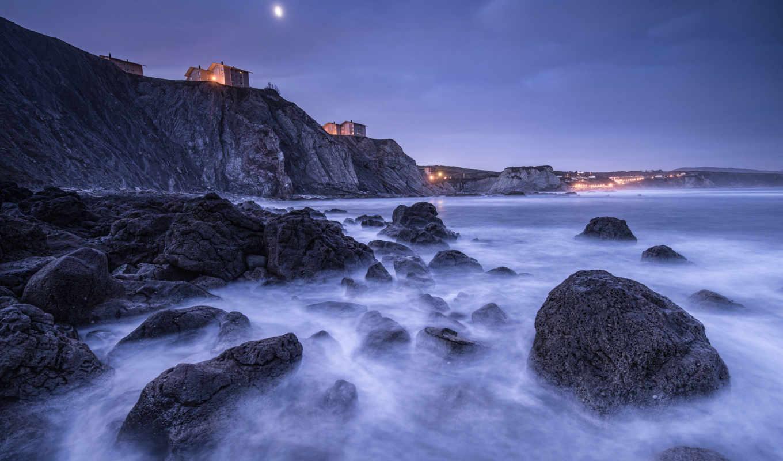 залив, испания, берег, бискайский, камни, скалы, домики,