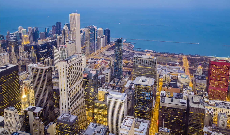 город, chicago, ночь, usa, огни,