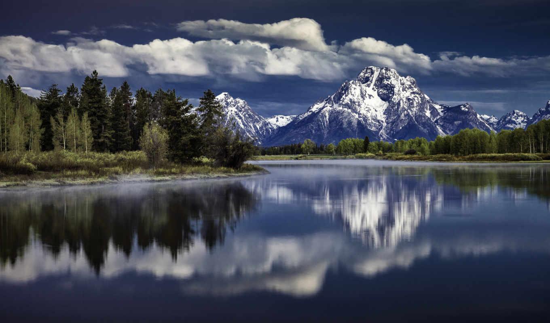 national, grand, teton, park, landscape, озеро, горы,