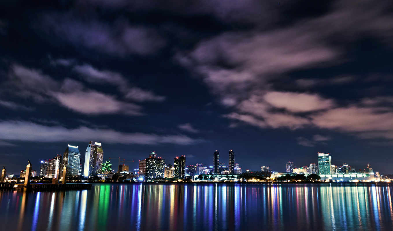 usa, город, san, картинка, ночь, города, buildings, огни, california, diego,