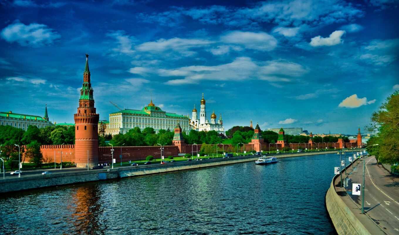 кремль, москва, река, высоком, качестве,