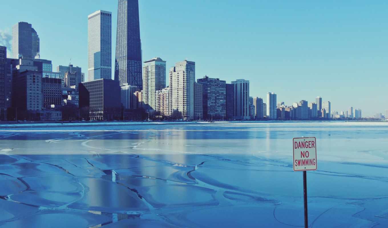 город, chicago, иллинойс, winter, лед,