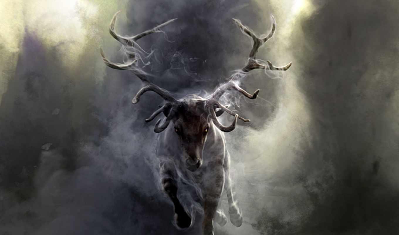 лань, взгляд, рога, лес, природа, трава, fantasy,