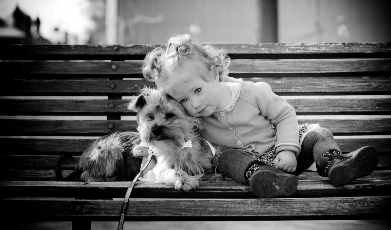 Девочка, собака, лавка, поводок
