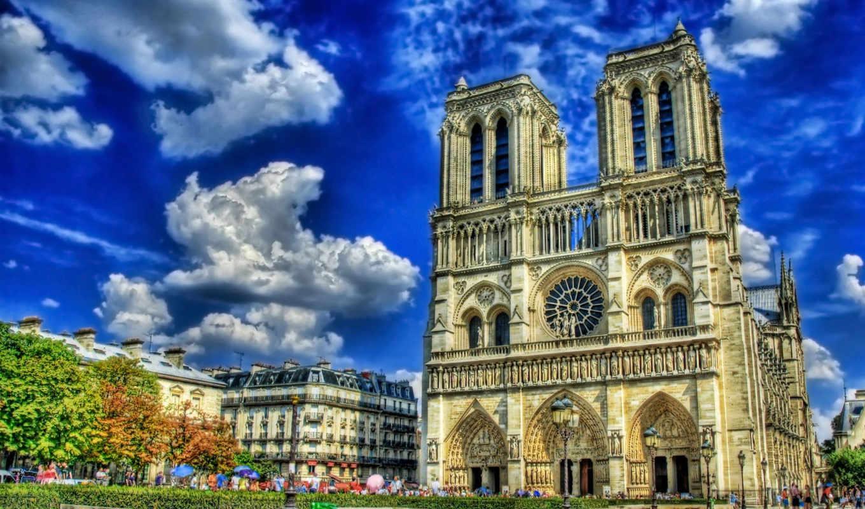 cathedral, парижской, богоматери, нотр, dam,,