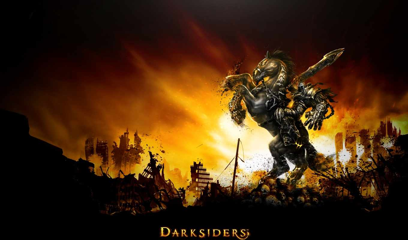 darksiders, war, ryder, демон, лошадь,