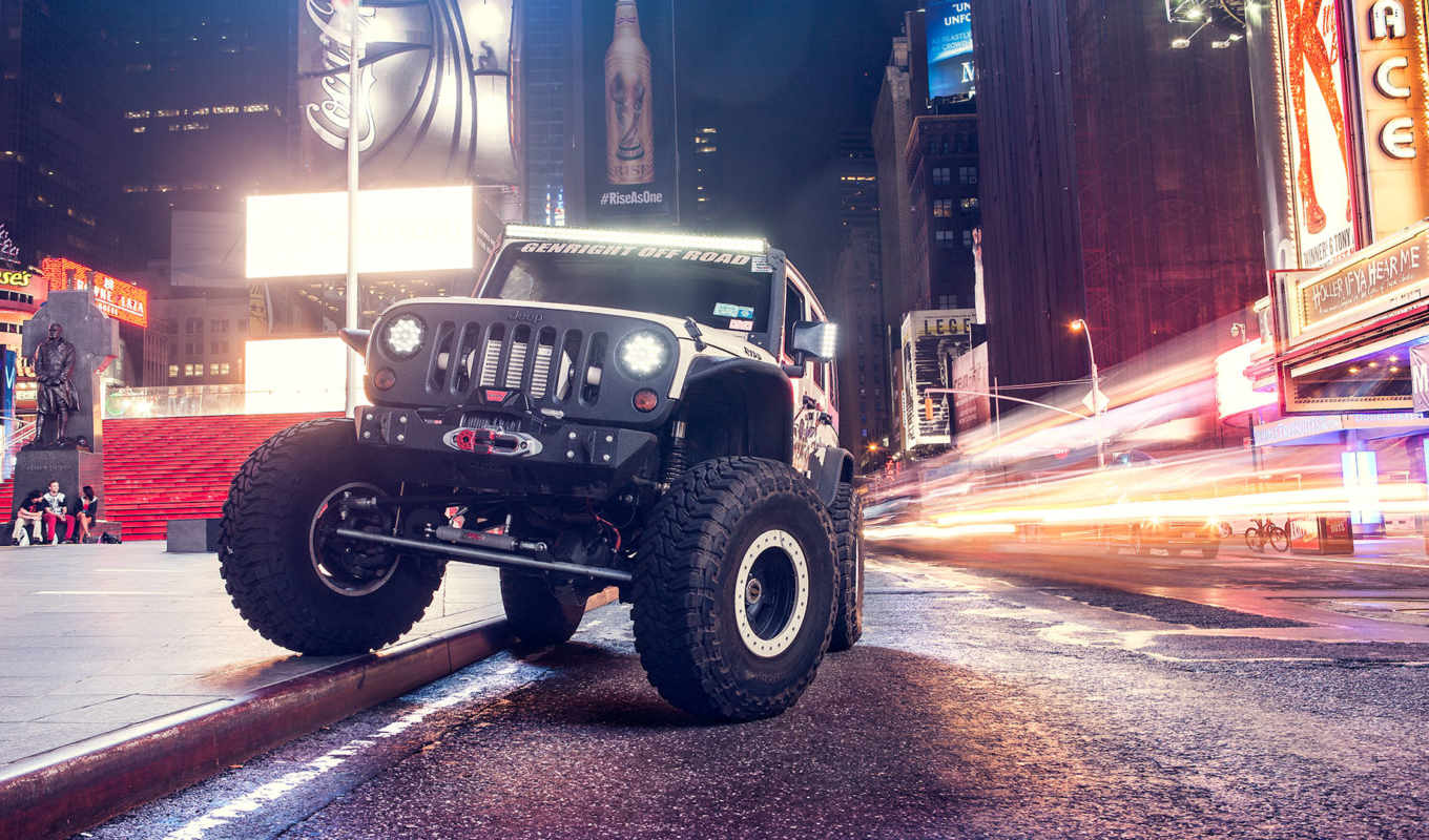 jeep, wrangler, desktop, car, automotive, ночь,