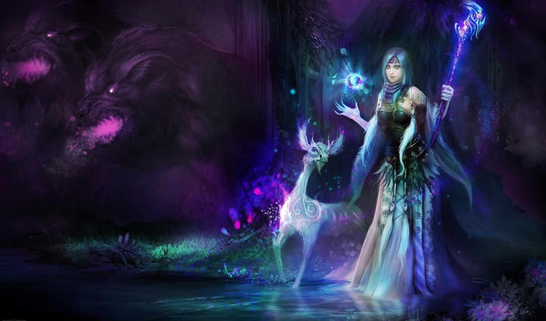 существо, девушка, арт, магия, dahong, huang,