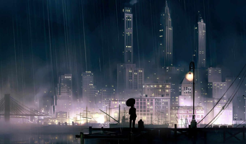 night, rainy, city,