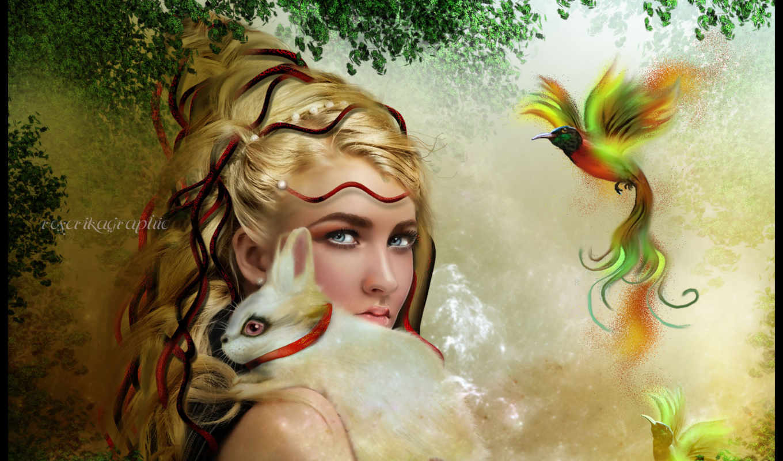 фэнтези, девушка, вышивки, представлена, автора, названием, красивая, кроликом, под, схема,