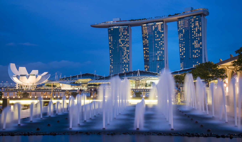 архитектуры, крупных, городов, мира, singapore, мегаполис, огни, ночь, фонтаны, небоскребы, архитектура,