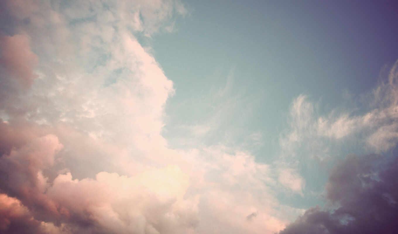 небо, облака, нежно, розовый, белый, фиолетовый, облако,