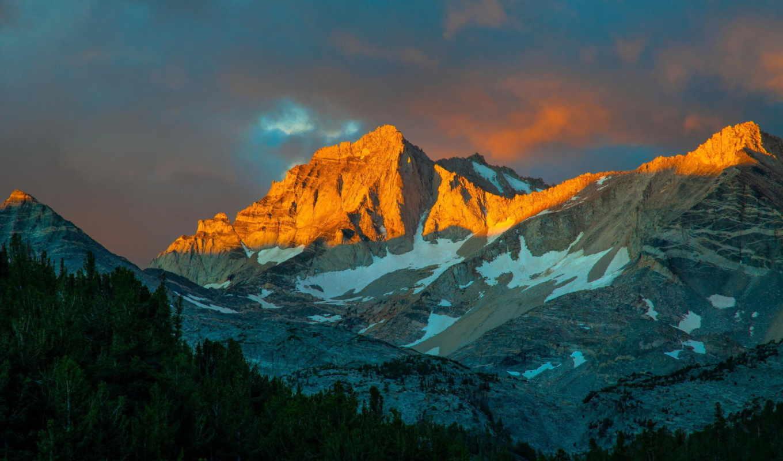 ,горы,закат, лес, небо,