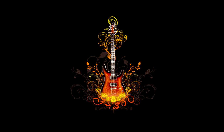 музыка, музыки,гитара, винтаж, лепестки,