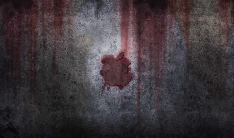apple, металл, грязь, лого