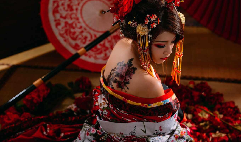 татуировка, девушка, japanese, традиционный, asian, женщина, art, baby