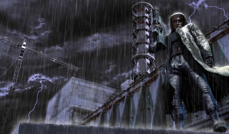 сталкер, аэс, chernobyl, shadow, дождь, игры,