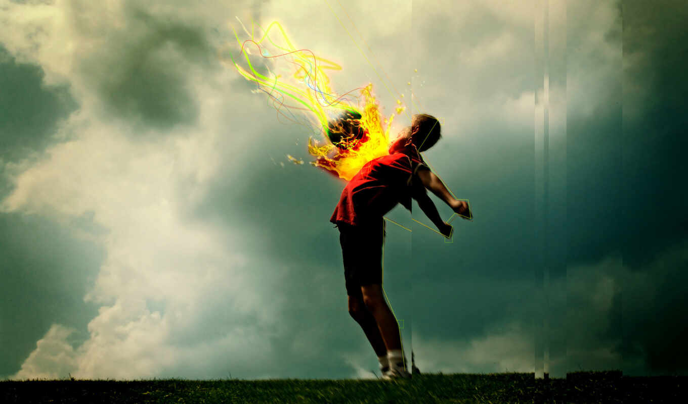 desktop, мяч, download, огненный, soccer, спорт, high, flaming, рисованное, boy, definition, wide,