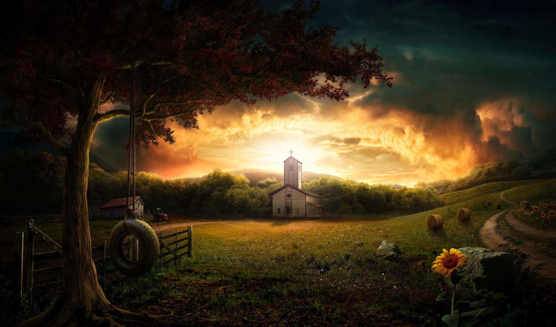 church, desktop, view, fantasy,