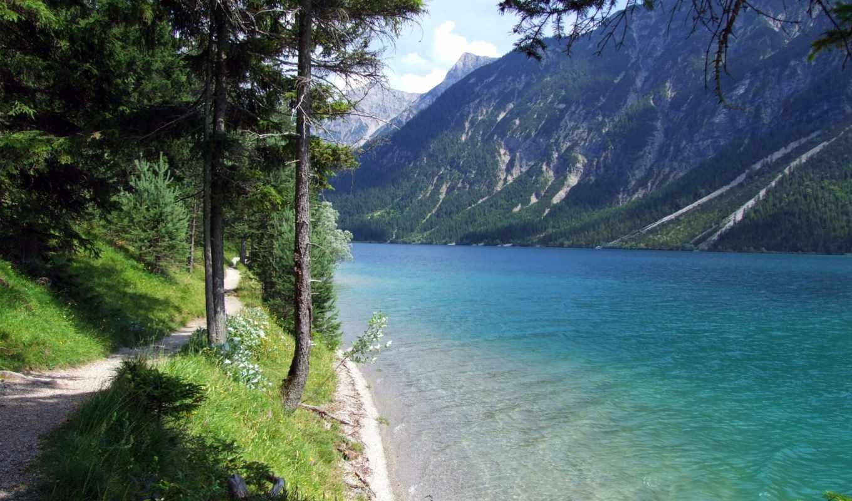 тропа, деревья, вода, гора, озеро, берег, трава,