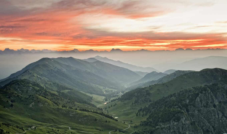 тучи, красные, горы, небо, туман, долина,