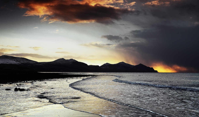 пляж, вечер, море, закат, волны, скалы, горы,